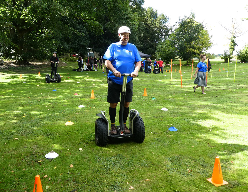 Woodmansterne managing director Paul Woodmansterne in a Segway time trial.