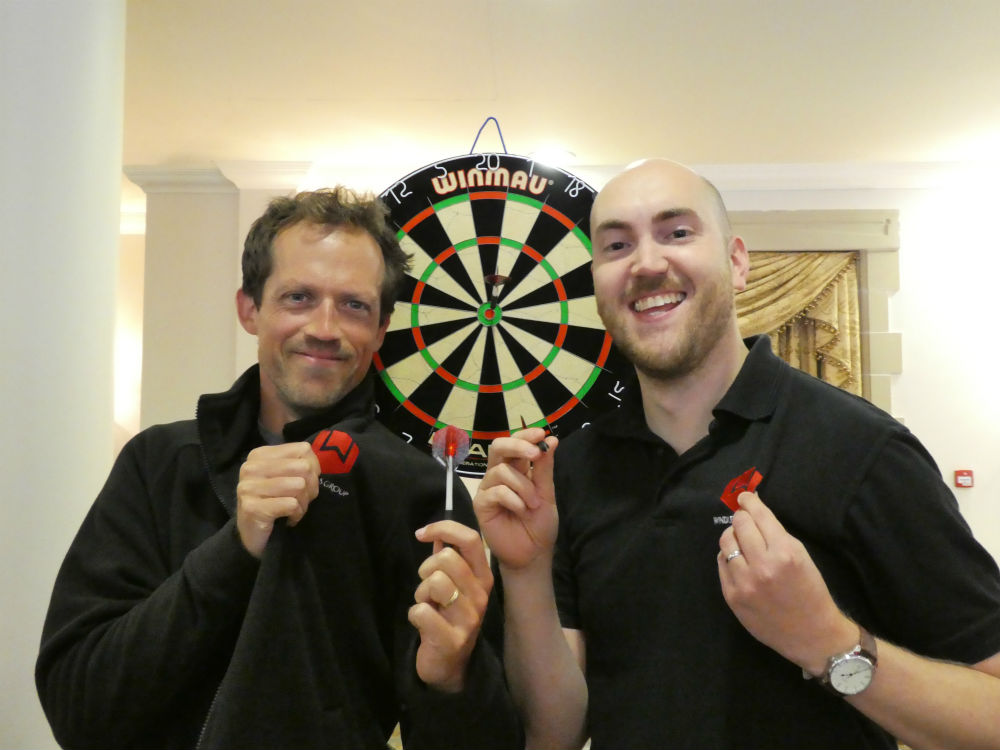 Windles' creative maestro Ian Kear-Bertie (left) with account manager Antony Ward after Windles triumphed with the arrows.