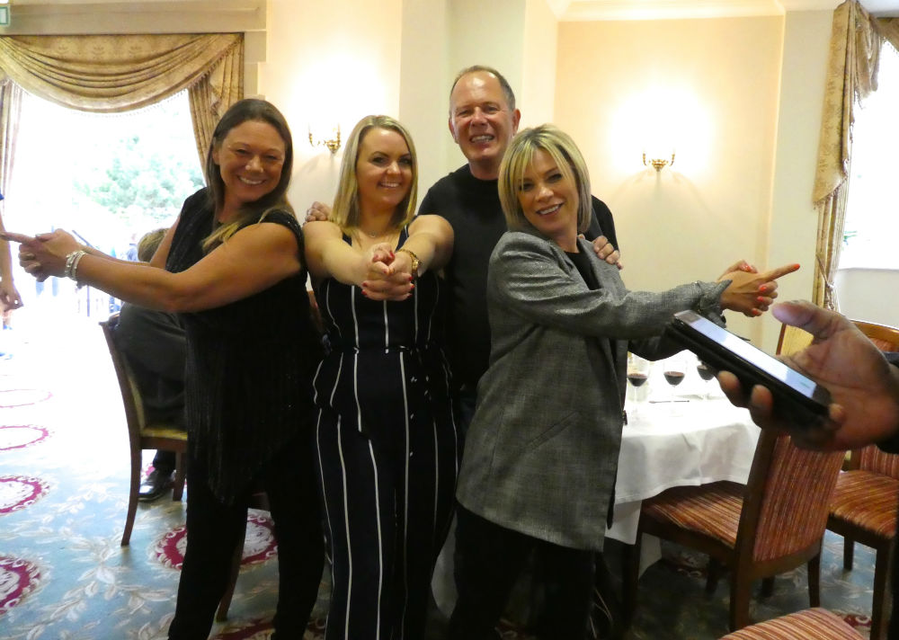 "Armed and dangerous! ""Bruce's Angels' (left-right) Windles' Michelle Mills, Emma-Louise Allen, Andrea Norcott with Bruce Podmore, md of Windles."