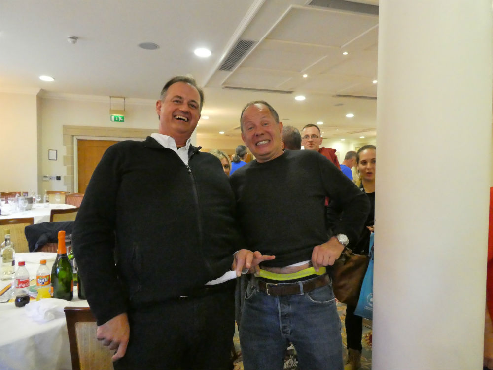 Paul Woodmansterne (left) admitted defeat too in the 'pants off' with Windles' Bruce Podmore!