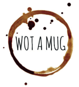 The Wot a Mug logo that now adorns the backs of the Cherry Orchard cards as well as the original mugs.