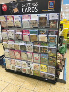 The end cap fixture of Card Factory everyday cards that went on sale in Aldi last week.