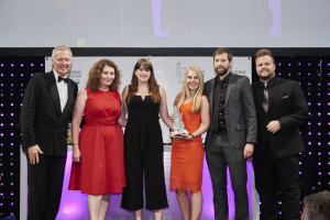 (Left-right) Moonpig's head of licensing Sarah-Jane Porter with colleagues Victoria Connor, Sian Roberts and Dale Boreham with Jon Rutherford, president of Boat Rocker Rights, sponsor of this award.