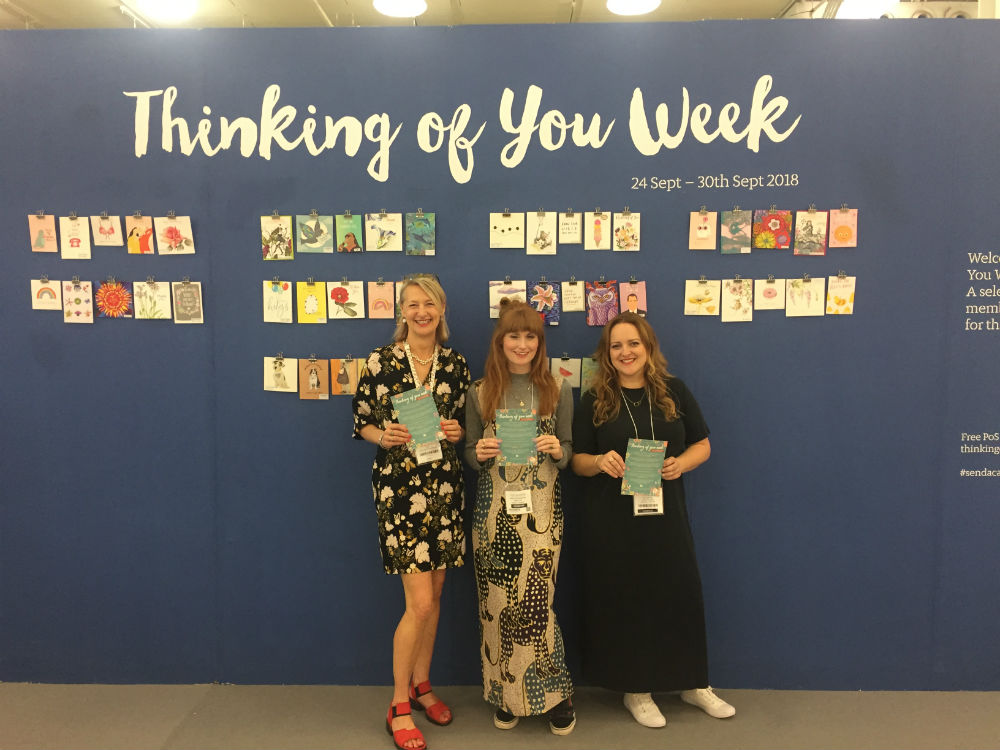 The GCA's ceo, Sharon Little (left) with Nicola Hutchinson of Hutch Cassidy and Jen Rowland in front of the wall of happiness at Top Drawer.