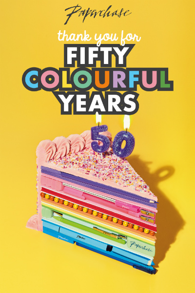 Paperchase this year is colourfully marking its half century.