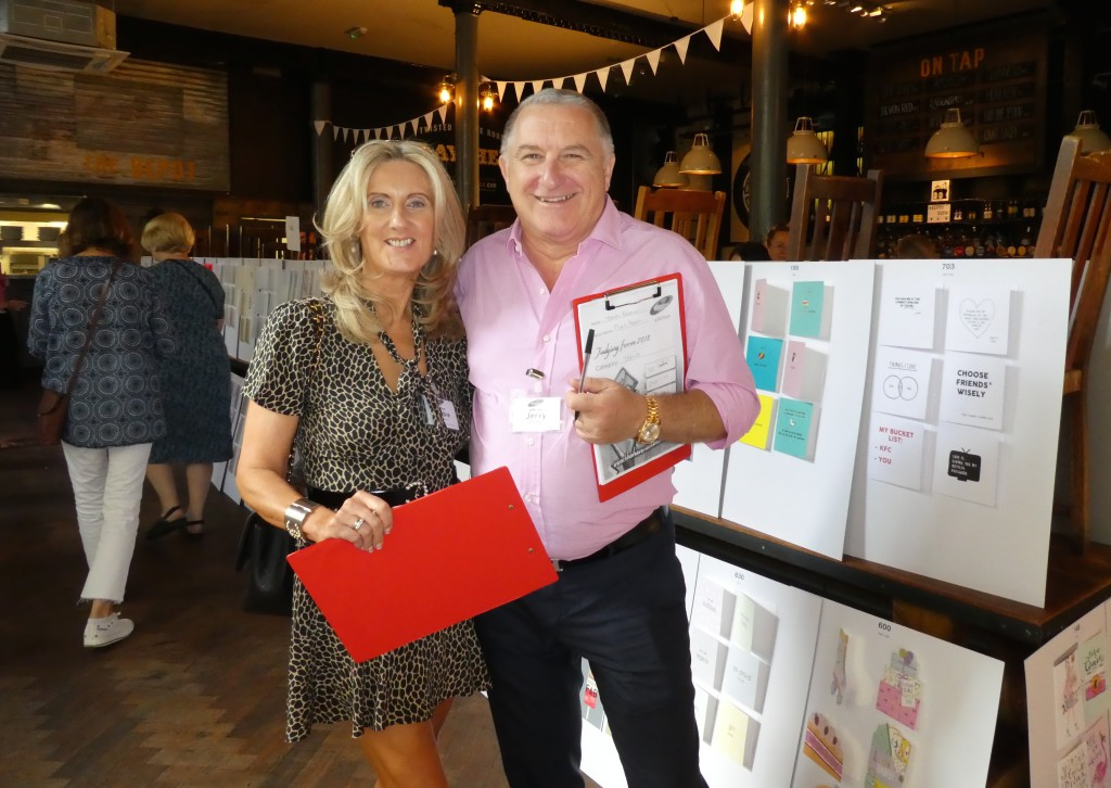 Debbie and Jerry Brown of First Class Greetings, Hadleigh at the judging of The Henries 2018.