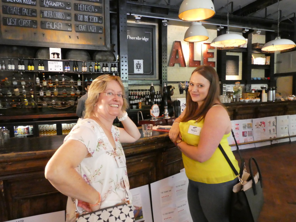 Red Card's Sally Matson (left) with Peppertrees' Megan Eyles catching up in between judging categories in The Depot, the brasserie where some of the judging took place.