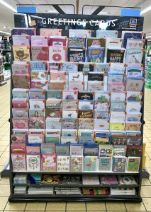 Above: The IG Design Group card selection in an Aldi store.