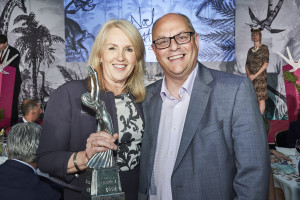 Above: Karen Hubbard, Card factory ceo with retail operations director Ian McEnvoy at The Retas last year.
