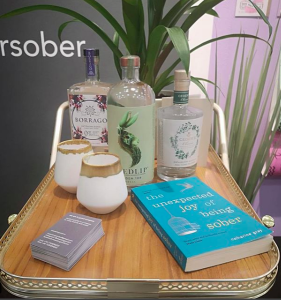 Above: The publisher's stand at Top Drawer had a non-alcoholic drinks trolley as well as a copy of Catherine Gray's book 'The Unexpected Joy of Being Sober'.