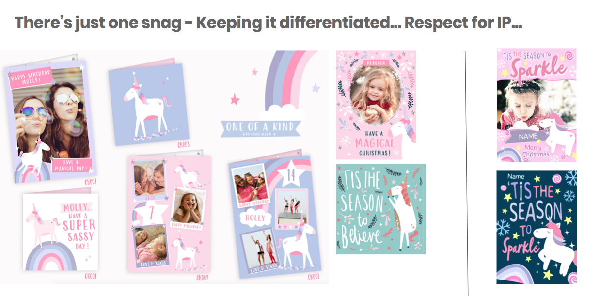 Above: Moonpig urges respect for IP – the two designs on the right are not from Moonpig.