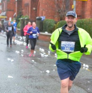 Above: Richard Aylett has raised £thousands for charity through running since he has had his organ transplant