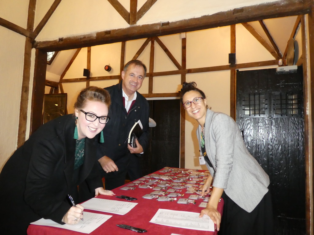 Above: The GCA's Raquel Lopez (right) welcomed attendees, including Woodmansterne's Kate Leach and Paul Woodmansterne.