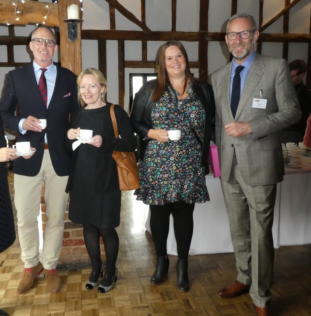 Above: Sainsbury's card buyer Carly Pearson (second right) and The Art File's md Ged Mace (far right) were among those to lead afternoon workshop sessions, on diversity and business strategy respectively. They caught up with Pigment's sales and marketing director Steve Baker and WHS card buyer Claire Castle in the reception.