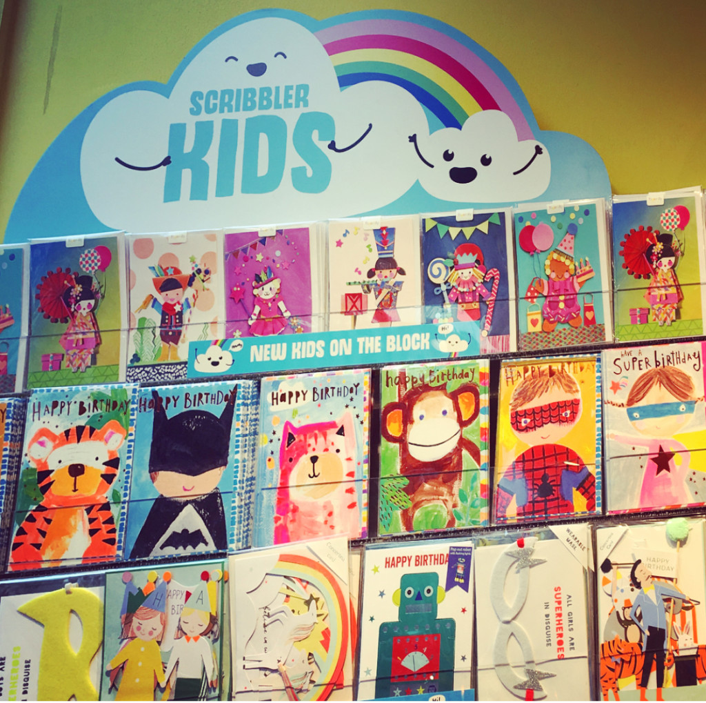 Above: Every Scribbler store is on course to have a bay of Scribbler Kids cards.