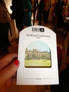 Above: Sherwood Group produced the 3D menu card for the GCA AGM and Conference, featuring the venue, Knebworth House.