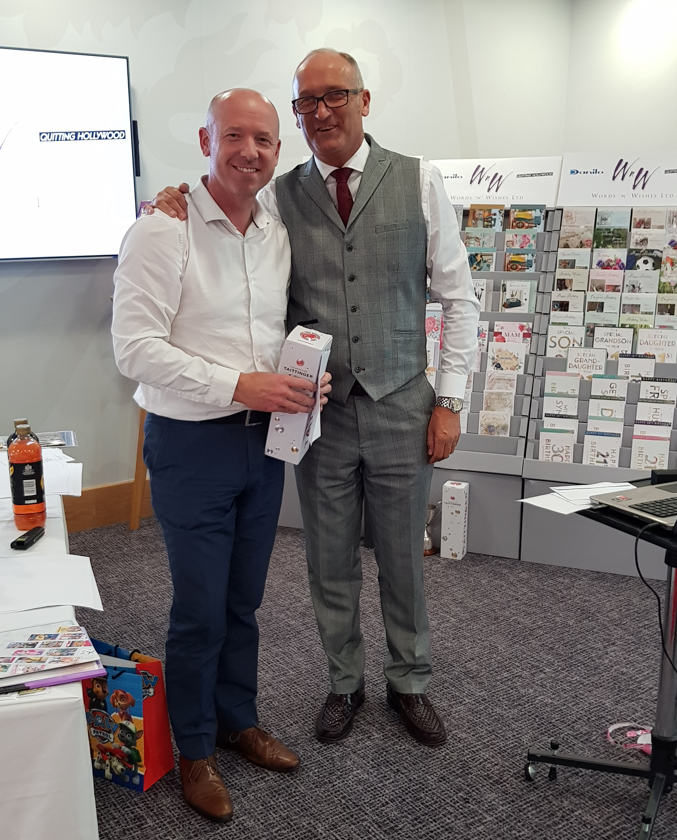 Above: It was not just Rachel who won sales awards, Scott (left) was crowned Words 'n' Wishes' Sales Person of the Year – Silver, this year. Scott is pictured here with Rod Brown, md of Words 'n' Wishes.