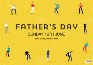 Above: Dancing dads feature on the Father's Day design.
