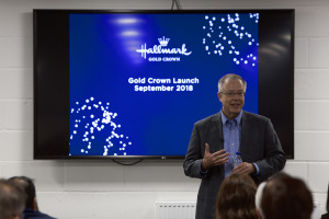 Above: Don Hall, ceo of Hallmark's parent group addressing the audience.