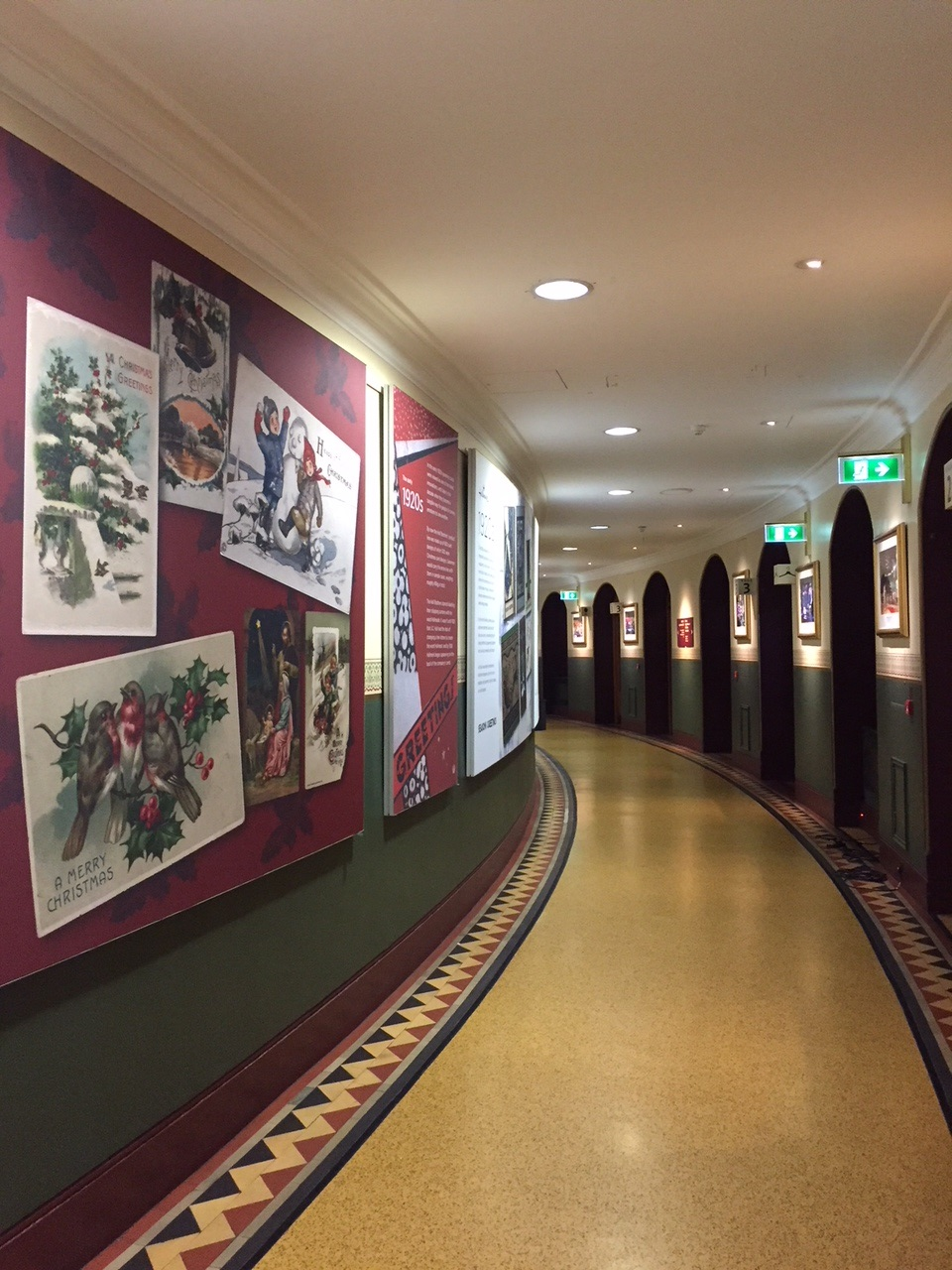 Above: The Hallmark Christmas card exhibition clads the perimeter wall of the main corridor of the Royal Albert Hall.