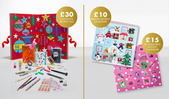 Above: Paperchase offered a wide array of Advents this year, including a limited edition stationery advent (left).
