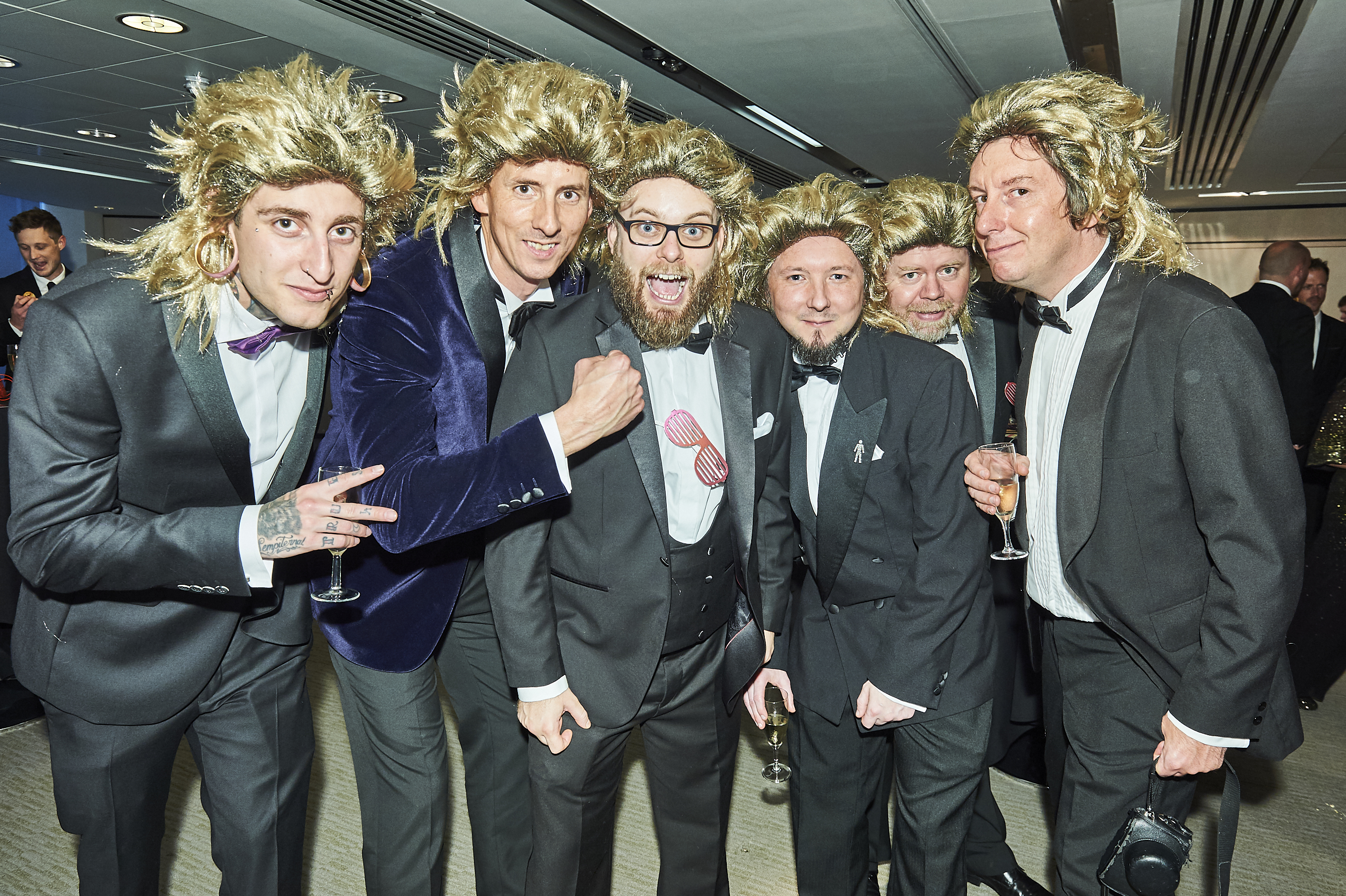 Above: Some of the Five Dollar Shake chaps with 80s barnets at the Windles' pre-reception bash.