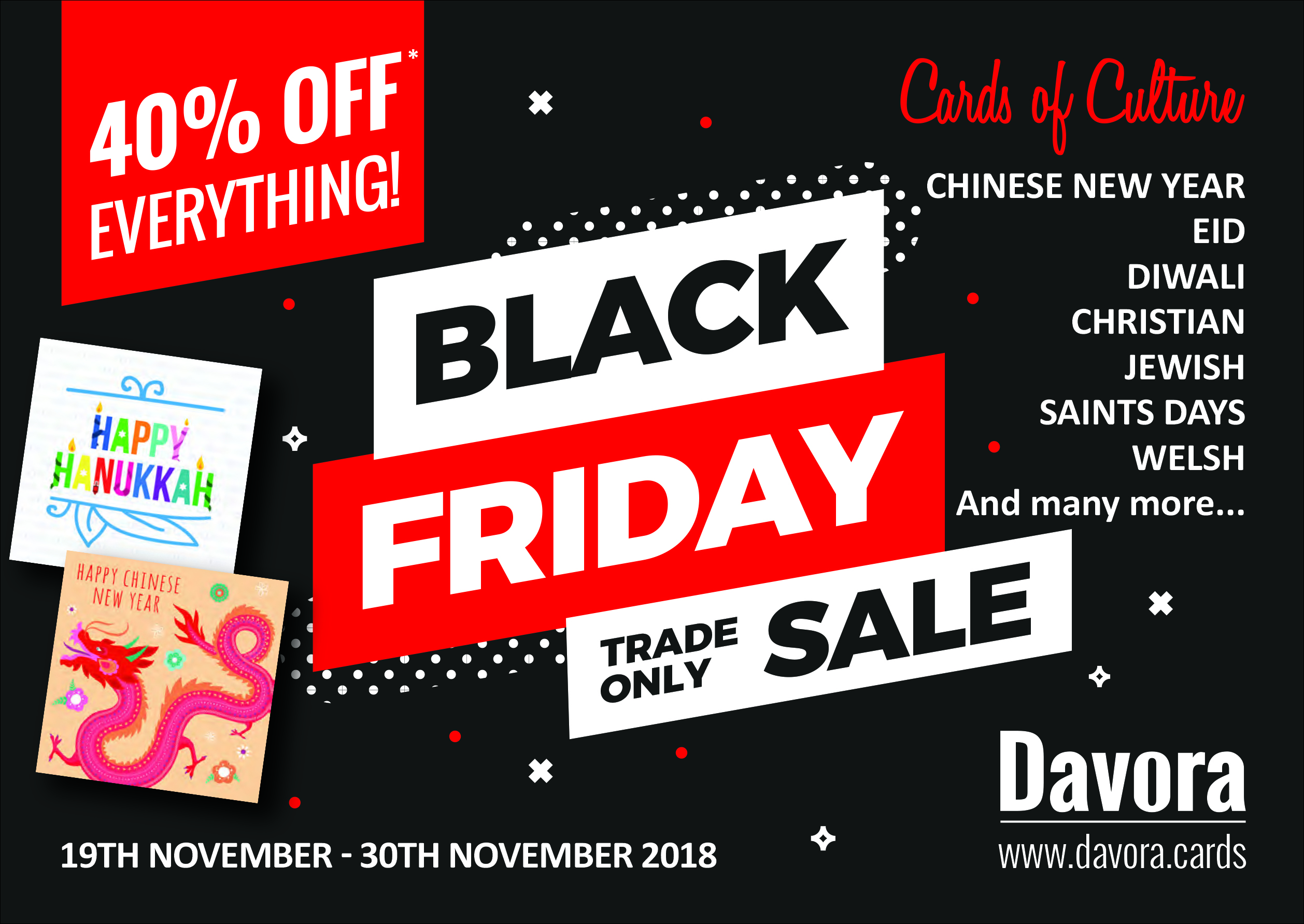 Above: Davora is offering retailers a two week Black Friday promotion, starting on Monday.