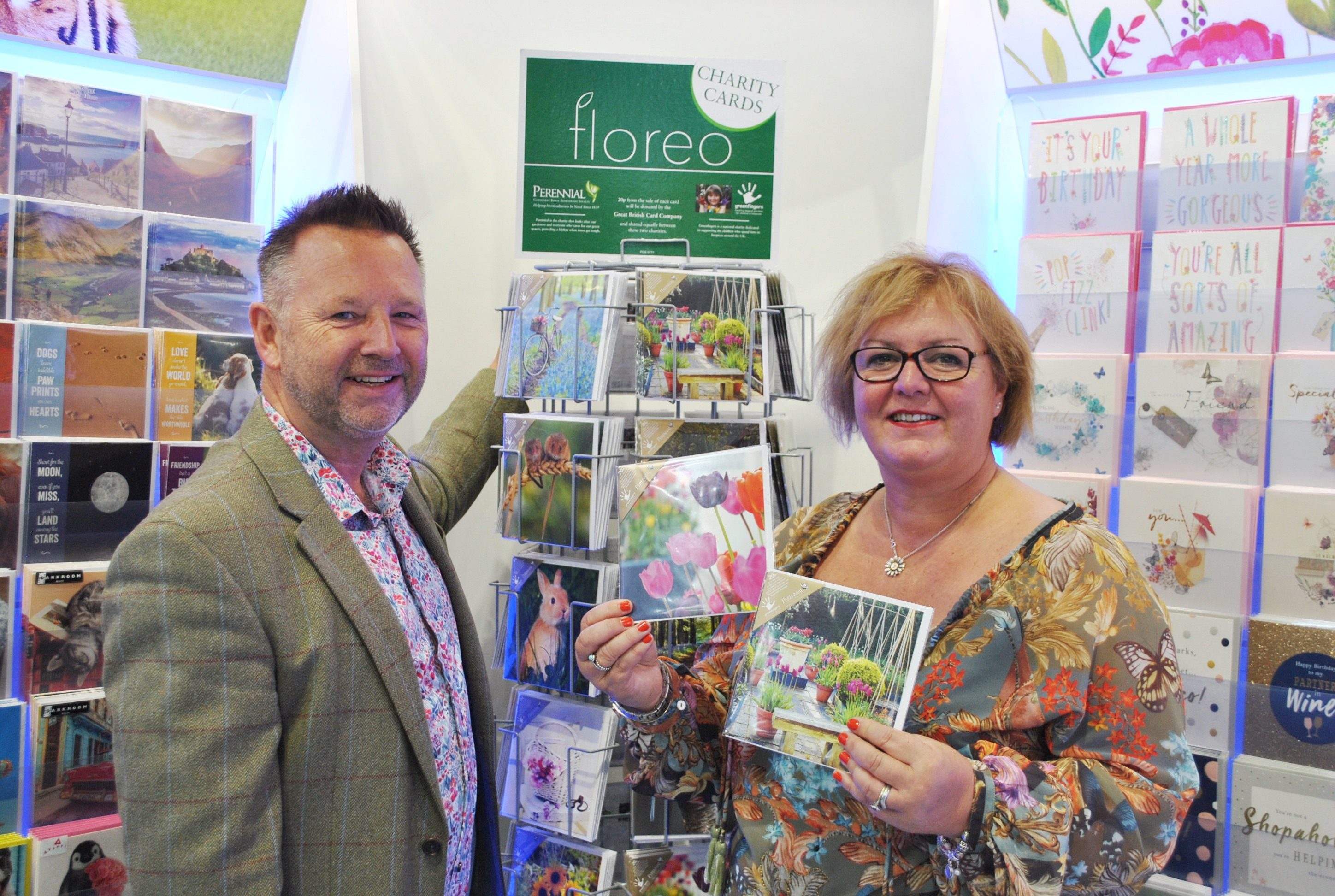 Above: Nick Adsett, GBCC's product director with Linda Petrons of Greenfingers Charity with the Floreo range.
