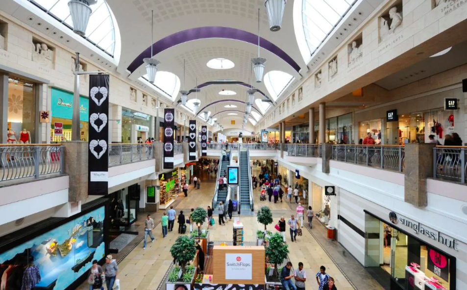 Above: Bluewater Shopping Centre in Kent is one of the UK's largest malls.