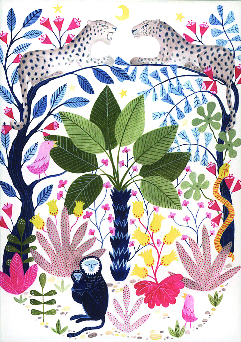 Above: Characterful animals and tropical flora feature in Bex Parkin's work which features on cards from Earlybird.