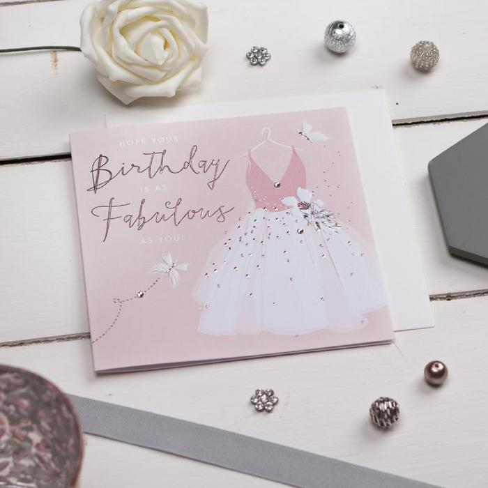 Above: Blush pinks and grey feature in the Callista range from The Handcrafted Card Company