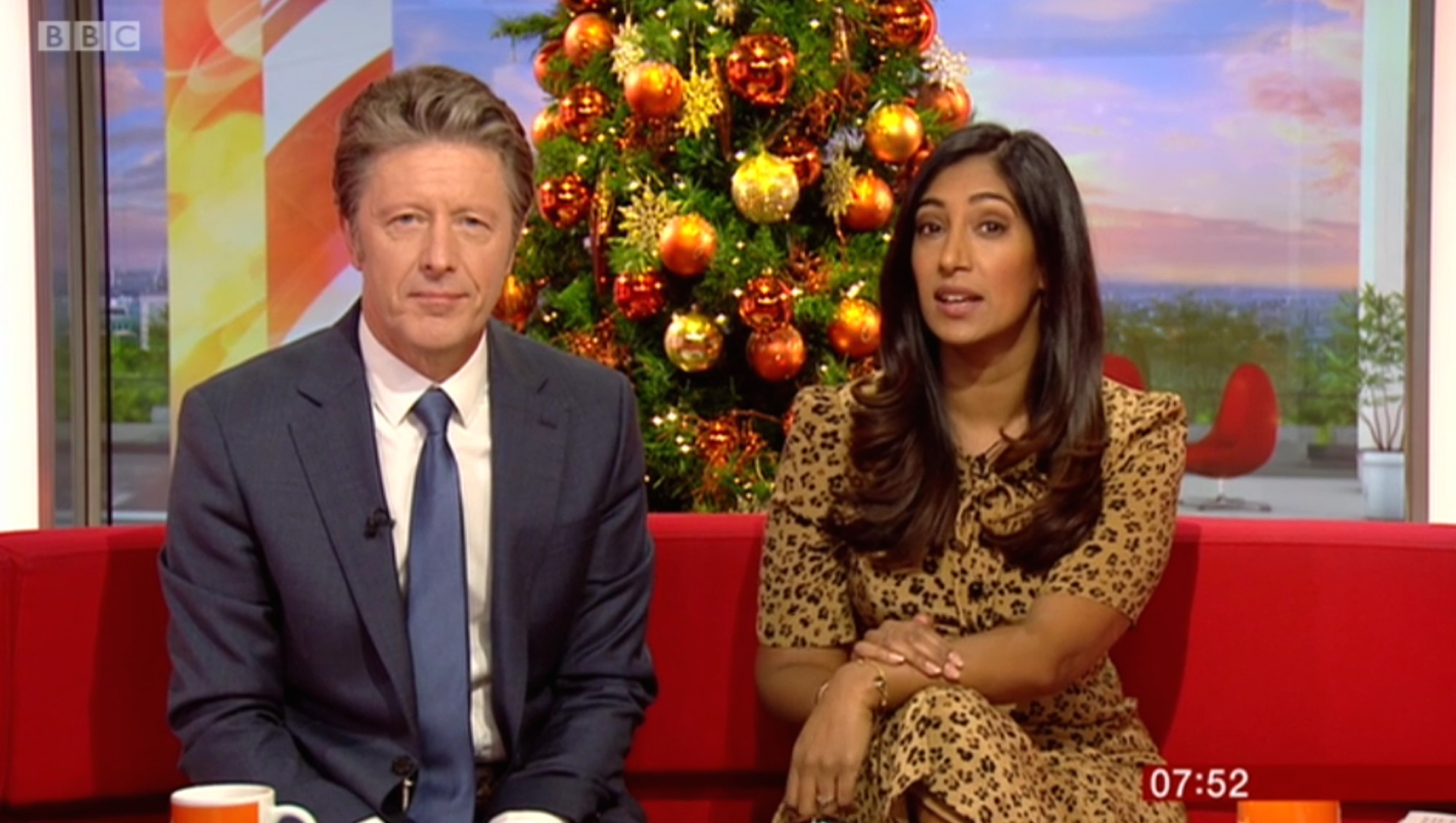 Above: BBC Breakfast anchor presenters Charlie Stayt and Tina Daheley.