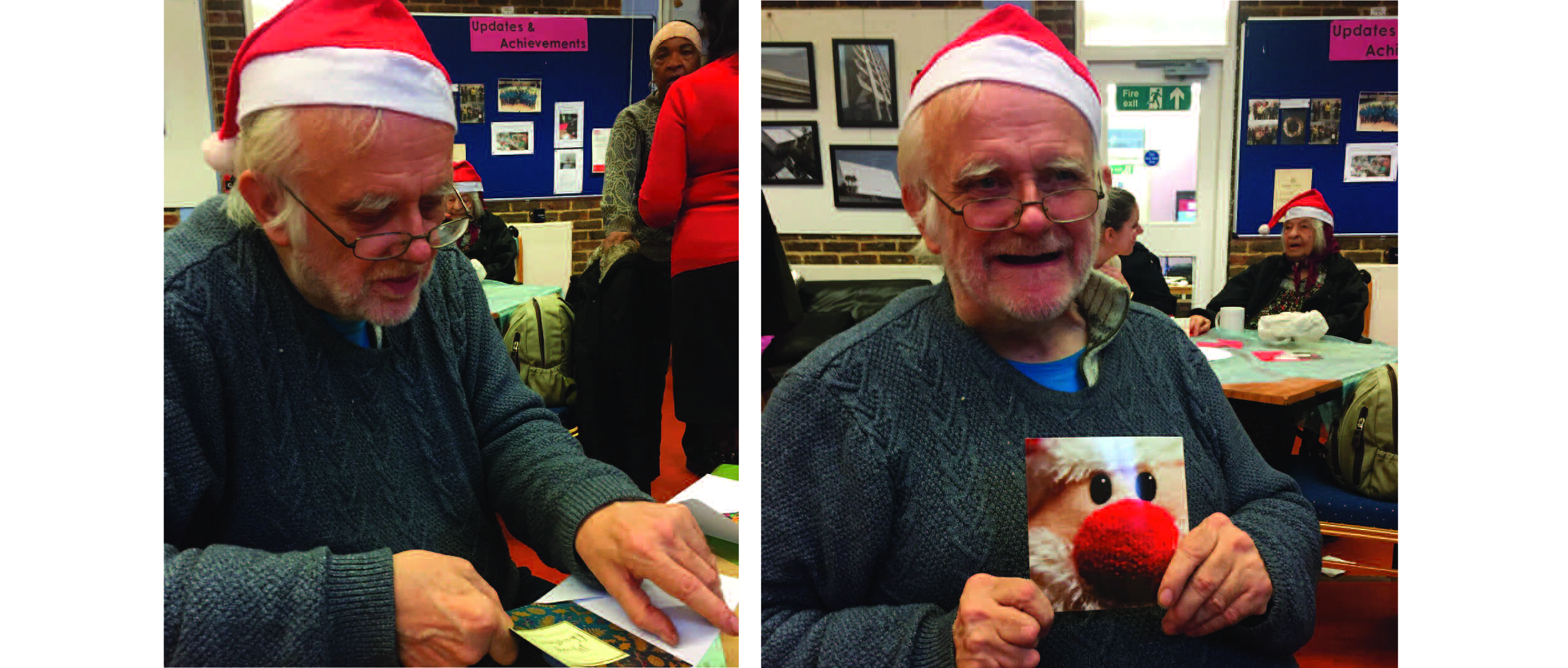 Above: One of the Age UK Drover club was especially delighted to be involved with the GCA's Festive Friday Christmas card event.