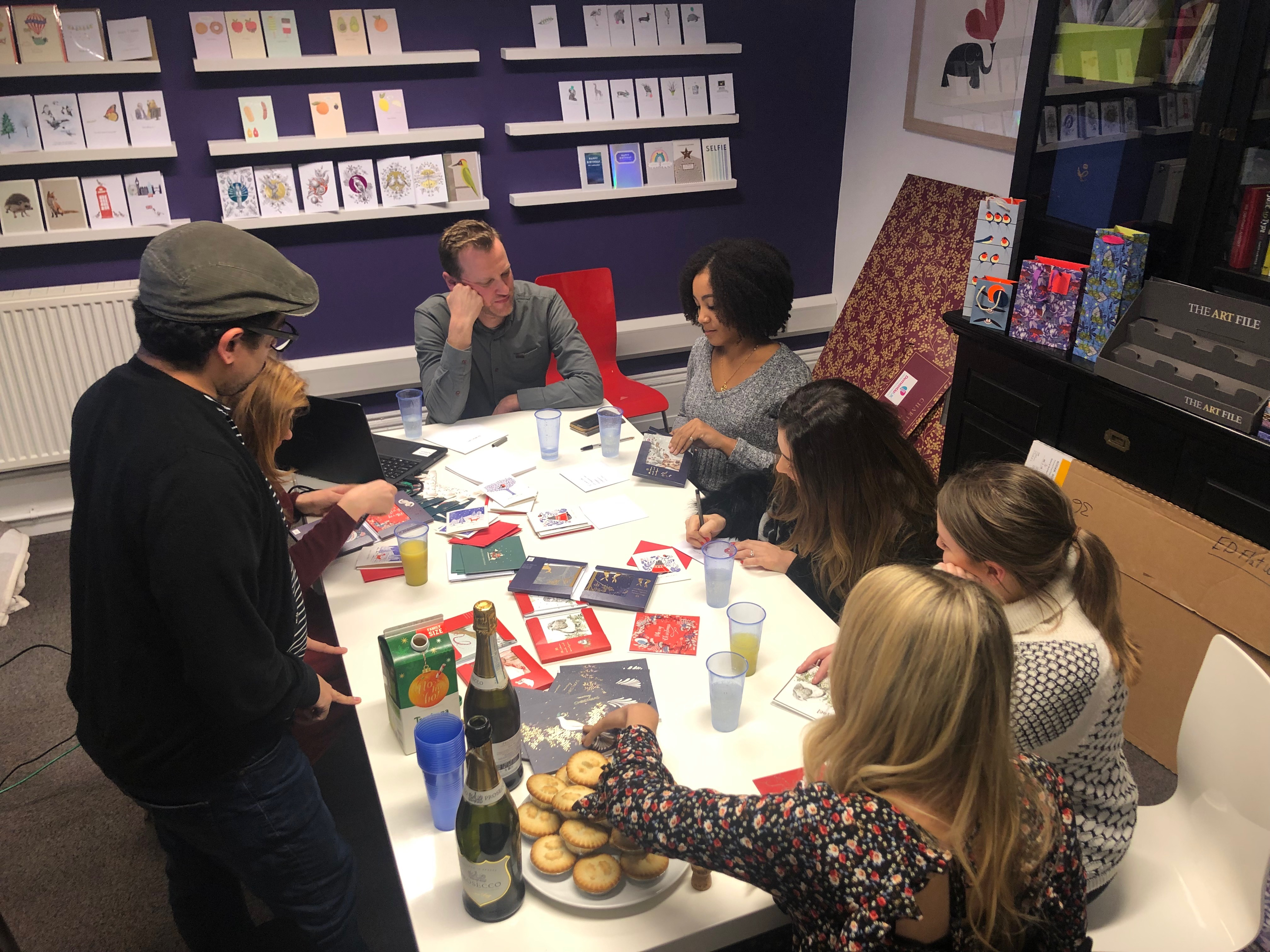 Above: The mince pies and fizz boosted the festive feeling in The Art File's Nottingham office.