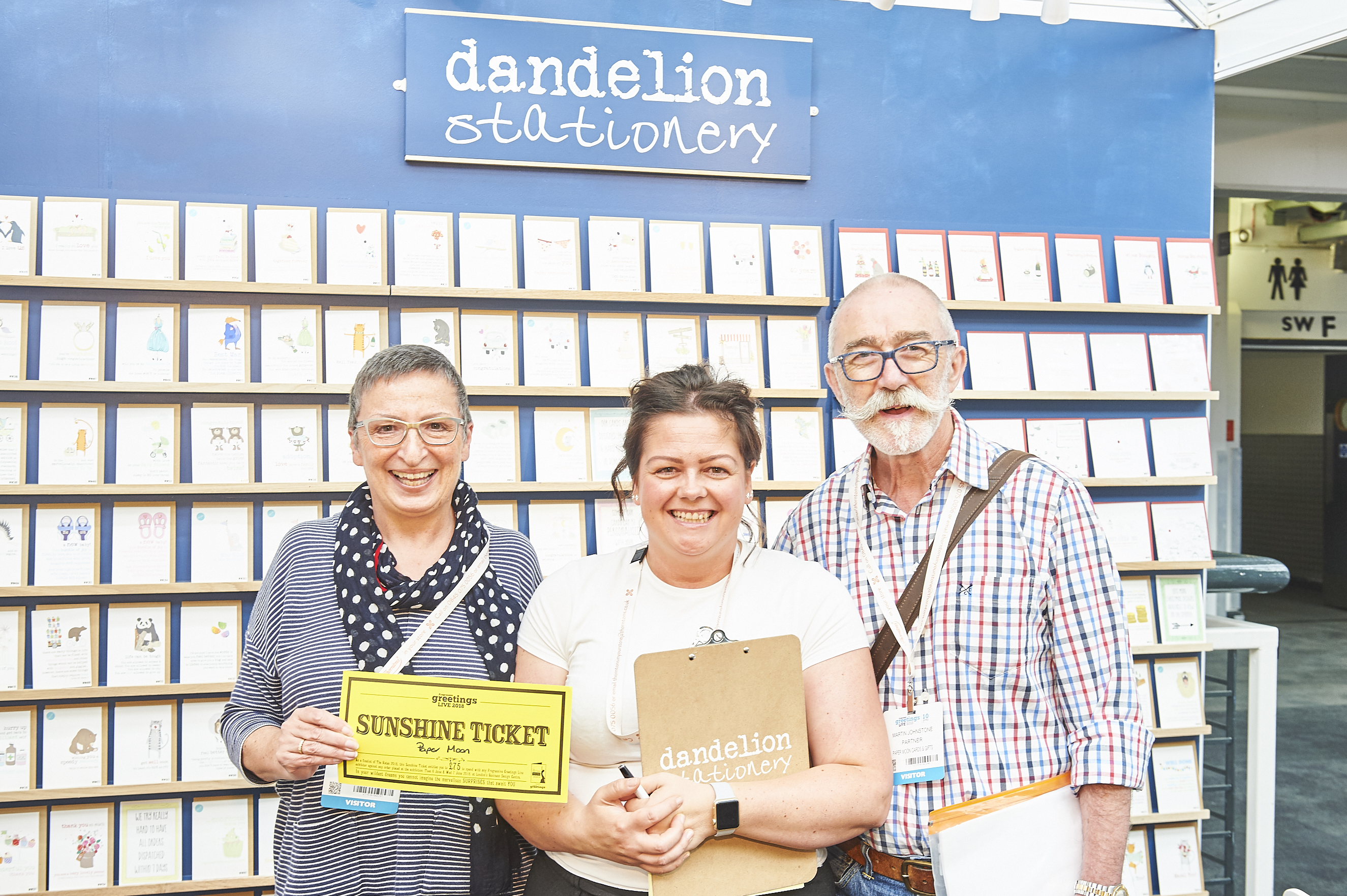 Above: Next June 5-6 sees PG Live 2019 welcome card retailers of all types, such as Jo (left) and Martin Johnstone of Paper Moon, Sidmouth who spent their Sunshine Ticket with Dandelion Stationery.