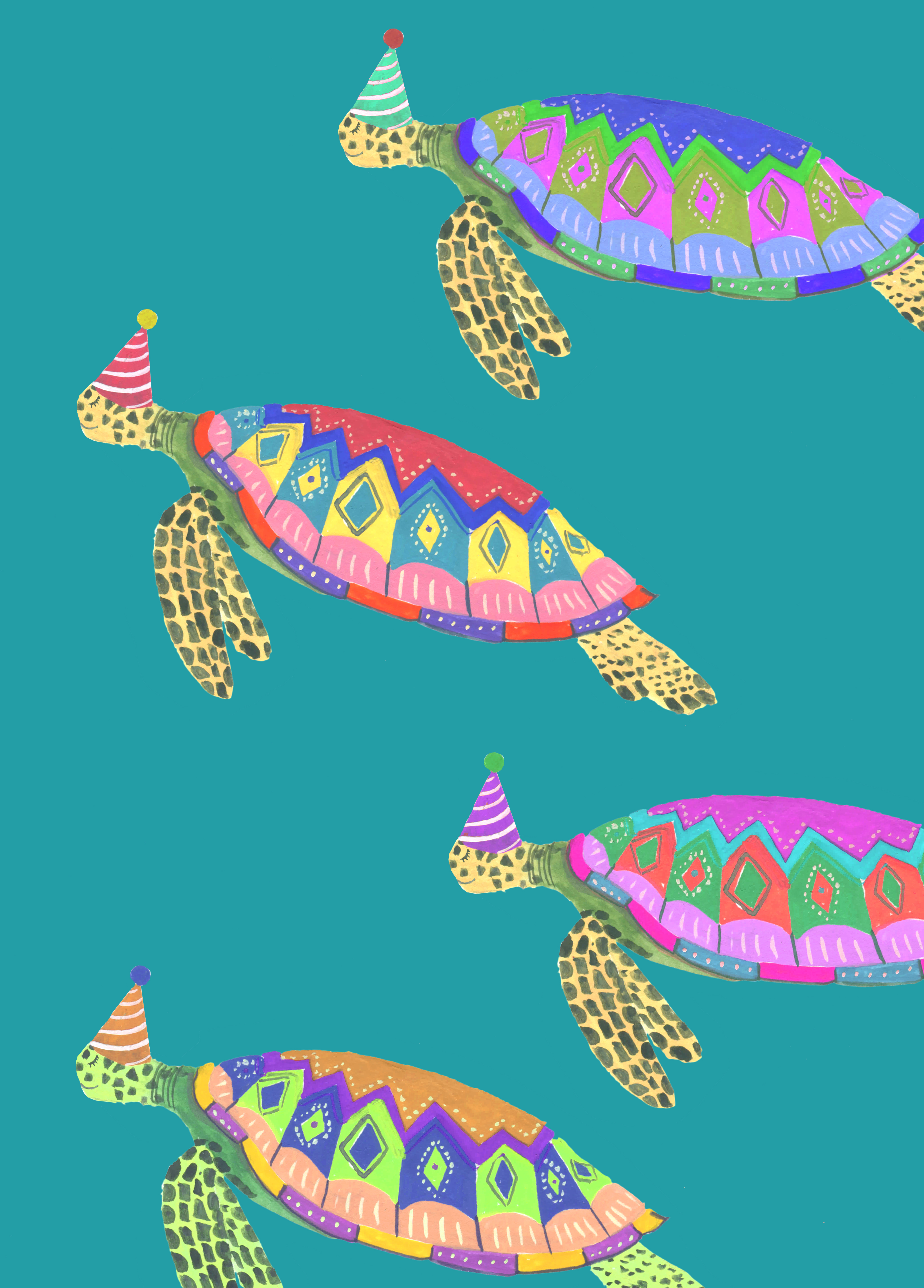 Above: An underwater world of colourful turtles on a design from Hutch Cassidy.