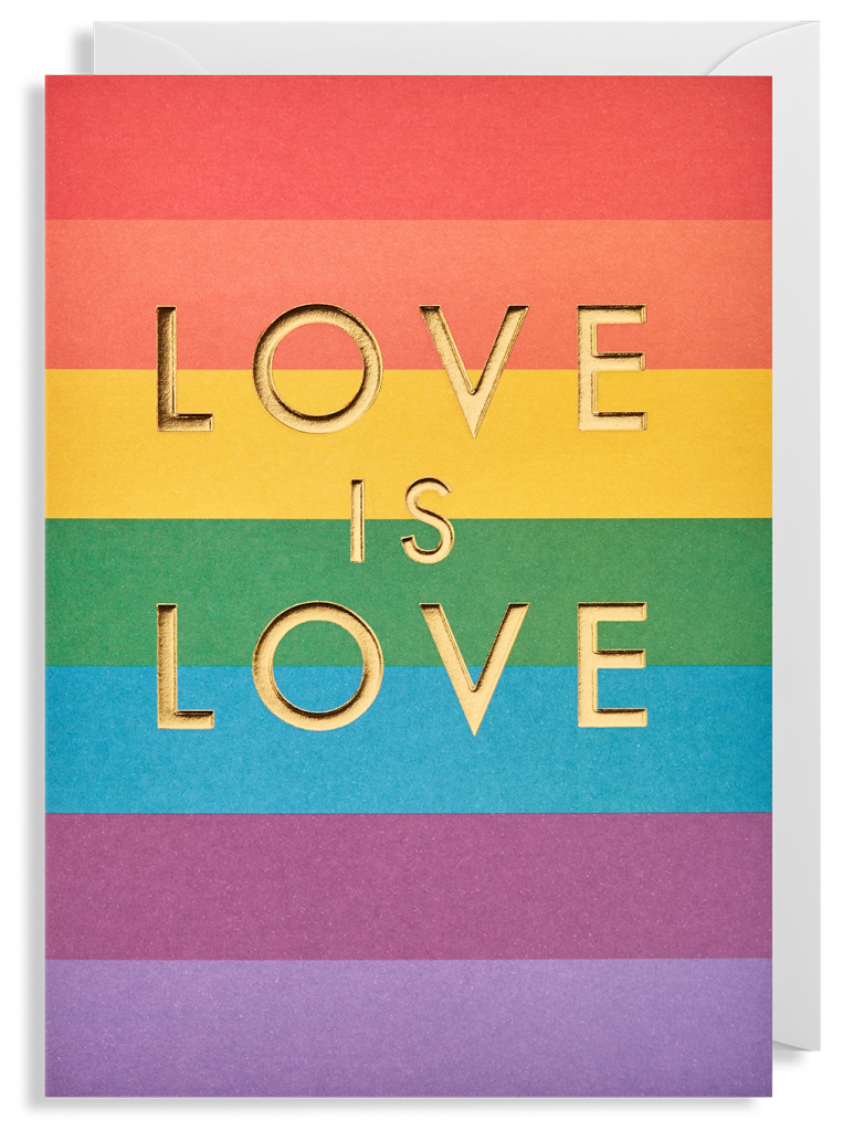 Above: The rainbow Pride colours on a card from Lagom.