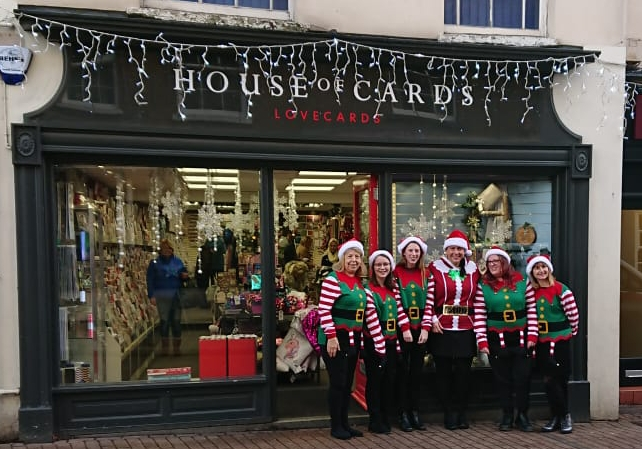 Above: House of Cards' Tring store and the team in festive mode.