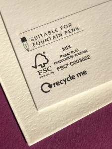 Above: The Recycle Me and the fountain pen-friendly wording for the backs of cards were developed by Woodmansterne, but can be used by other publishers.