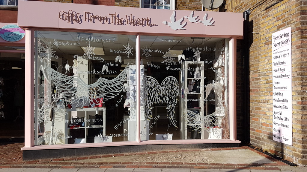 Above: Feathering Your Nest used one of its windows to highlight mental health issues and promote wellbeing.