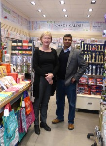 Above: Trish Corner with director Rumit Shah in a Cards Galore shop.
