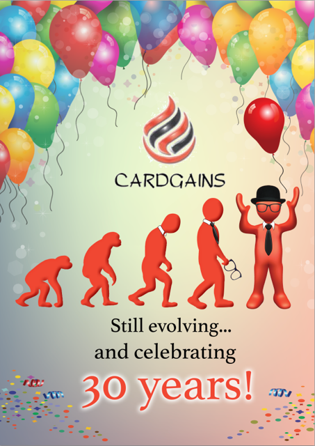 Above: Cyril Service, Cardgains' mascot is ready to mark the last three decades of the buying group's evolution.