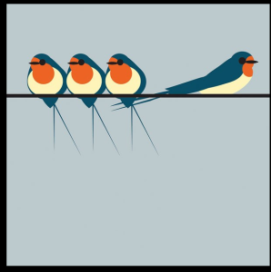 Above: An 'I Like Birds' design from The Art File.