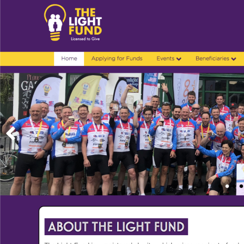 Above: The new Light Fund website homepage showing the Bristol to Dublin bike ride that raised over £230,000 for The Light Fund resulting in a record fundraising year for the charity.