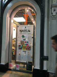 Above: Paperchase championed its own brand charity Christmas packs in its windows.