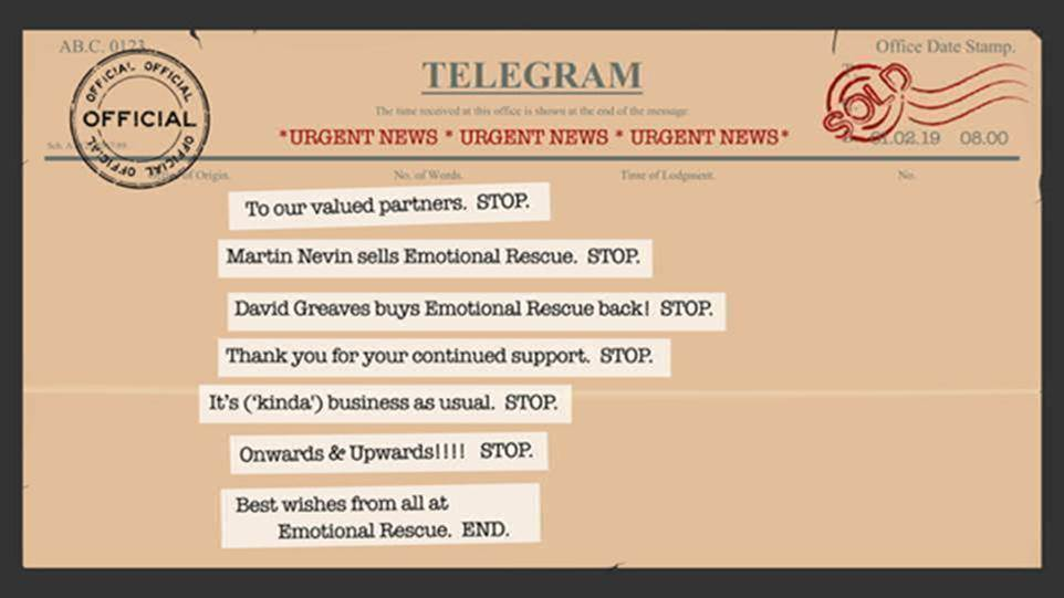 Above: The spoof telegram that was sent out to announce the news.