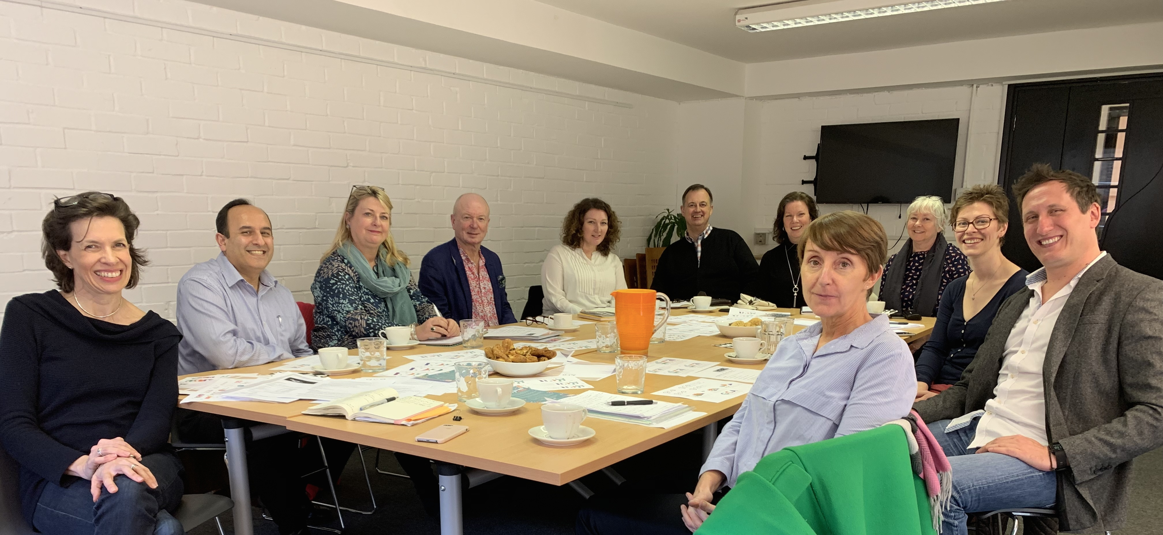 Above: The recent GCA Council meeting at which the final vote for the new logo was counted. (Left-right clockwise) Amanda Fergusson (GCA), Raj Arora (Davora), Jakki Brown (PG), Warren Lomax (PG), Sarah-Jane Porter (Moonpig), Paul Woodmansterne (Woodmansterne), Amanda Del Prete (Hallmark), Marion Hancock (Art Cards Ireland), Lisa Shoesmith (Really Good/Soul), Jeremy Corner (Blue Eyed Sun) and GCA president Ceri Stirland (UKG).