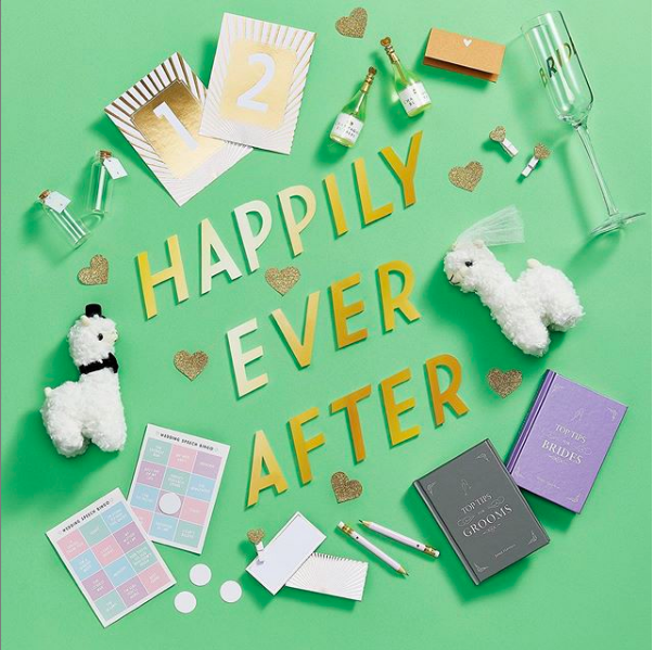 Above: Everyone hopes it will end 'happily ever after' in line with Paperchase's current marketing for its wedding selection.
