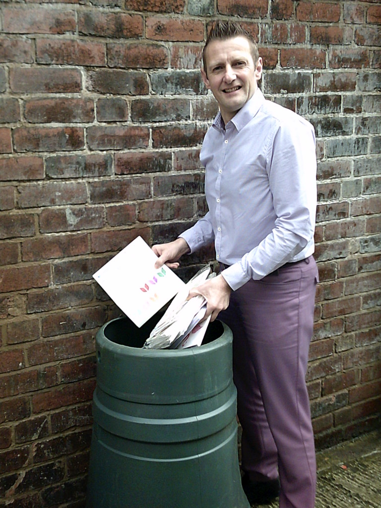 Above: Tony Lorriman, md of Loxleys demonstrating the home compostability of its eco-bags.