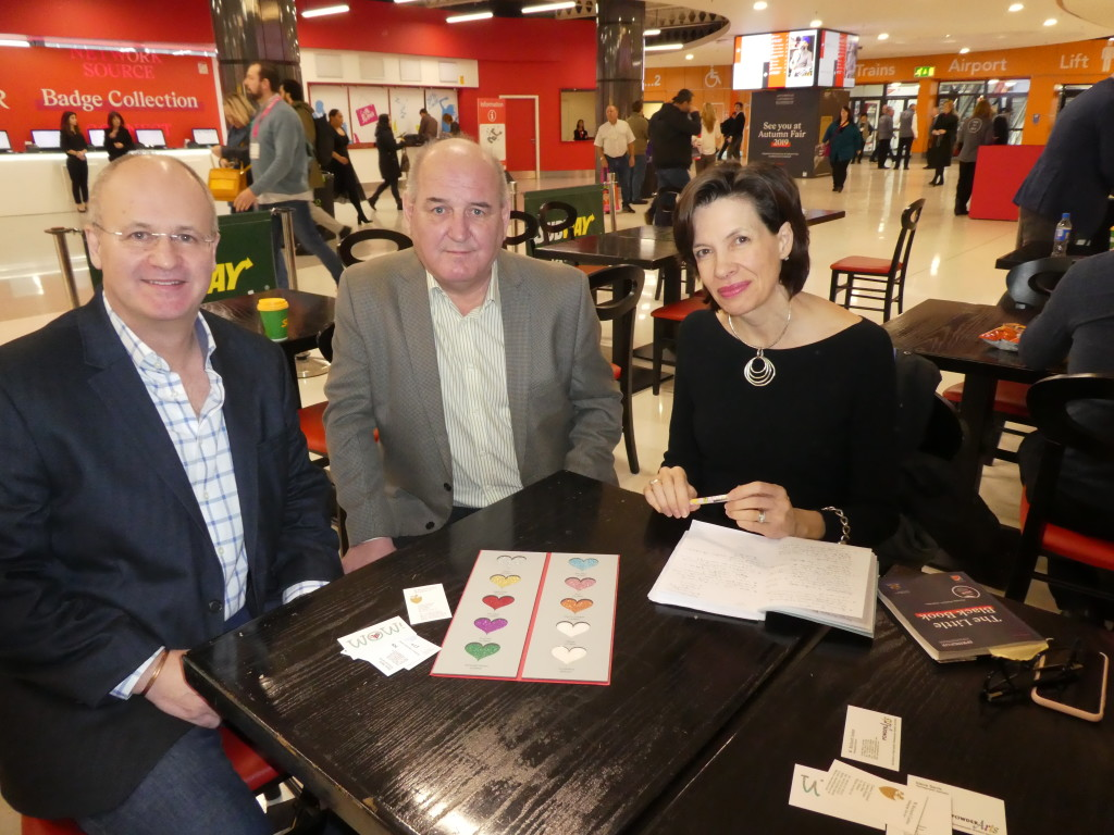 Above: With Powder Arts being the distributor of the Eco-Glitter, Amanda Fergusson, ceo of the GCA met up with the company's md Richard Caslon (left) and sales manager Steve Davis to gain a better understanding of the eco developments.
